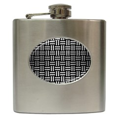 Woven1 Black Marble & Silver Brushed Metal Hip Flask (6 Oz)