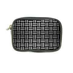 Woven1 Black Marble & Silver Brushed Metal Coin Purse