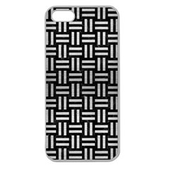 Woven1 Black Marble & Silver Brushed Metal Apple Seamless Iphone 5 Case (clear)