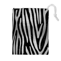 SKN4 BK MARBLE SILVER (R) Drawstring Pouches (Extra Large)