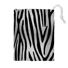 Skin4 Black Marble & Silver Brushed Metal Drawstring Pouch (xl)