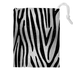 Skin4 Black Marble & Silver Brushed Metal Drawstring Pouch (xxl)