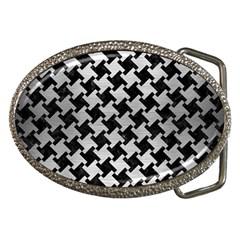 Houndstooth2 Black Marble & Silver Brushed Metal Belt Buckle