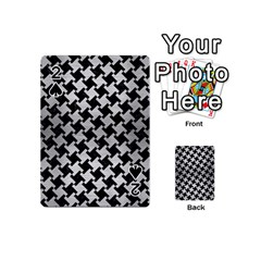 Houndstooth2 Black Marble & Silver Brushed Metal Playing Cards 54 (mini)
