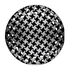 Houndstooth2 Black Marble & Silver Brushed Metal Round Filigree Ornament (two Sides)