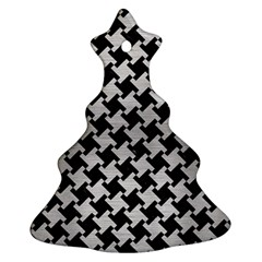 Houndstooth2 Black Marble & Silver Brushed Metal Christmas Tree Ornament (two Sides)