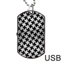 Houndstooth2 Black Marble & Silver Brushed Metal Dog Tag Usb Flash (one Side)