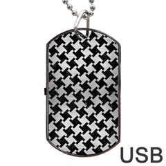Houndstooth2 Black Marble & Silver Brushed Metal Dog Tag Usb Flash (two Sides)