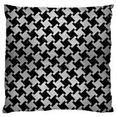 Houndstooth2 Black Marble & Silver Brushed Metal Large Cushion Case (two Sides)