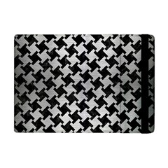Houndstooth2 Black Marble & Silver Brushed Metal Apple Ipad Mini Flip Case