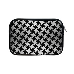 Houndstooth2 Black Marble & Silver Brushed Metal Apple Ipad Mini Zipper Case