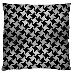 Houndstooth2 Black Marble & Silver Brushed Metal Standard Flano Cushion Case (two Sides)