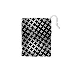 Houndstooth2 Black Marble & Silver Brushed Metal Drawstring Pouch (xs)