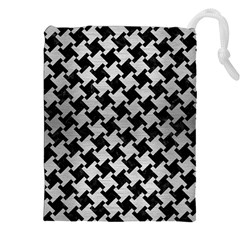 Houndstooth2 Black Marble & Silver Brushed Metal Drawstring Pouch (xxl)