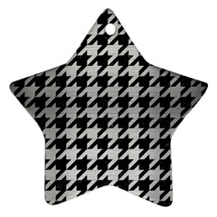Houndstooth1 Black Marble & Silver Brushed Metal Ornament (star)