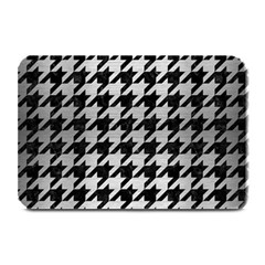 Houndstooth1 Black Marble & Silver Brushed Metal Plate Mat