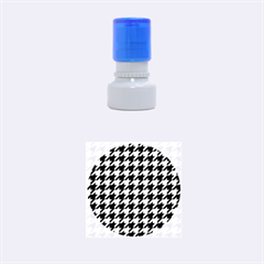 Houndstooth1 Black Marble & Silver Brushed Metal Rubber Stamp Round (small)