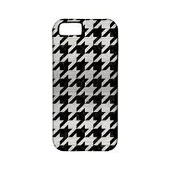 Houndstooth1 Black Marble & Silver Brushed Metal Apple Iphone 5 Classic Hardshell Case (pc+silicone)