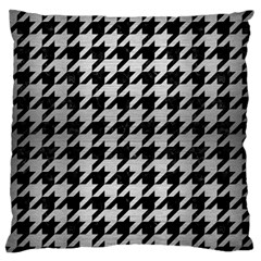 Houndstooth1 Black Marble & Silver Brushed Metal Standard Flano Cushion Case (one Side)