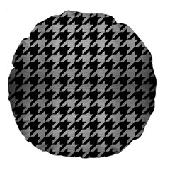Houndstooth1 Black Marble & Silver Brushed Metal Large 18  Premium Flano Round Cushion