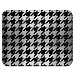 Houndstooth1 Black Marble & Silver Brushed Metal Double Sided Flano Blanket (medium)