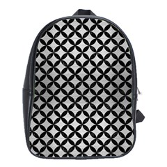 Circles3 Black Marble & Silver Brushed Metal (r) School Bag (large)
