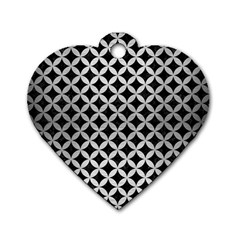 Circles3 Black Marble & Silver Brushed Metal Dog Tag Heart (one Side)