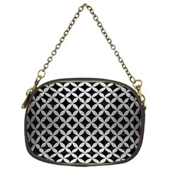 Circles3 Black Marble & Silver Brushed Metal Chain Purse (one Side)
