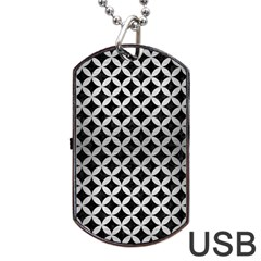 Circles3 Black Marble & Silver Brushed Metal Dog Tag Usb Flash (two Sides)
