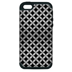Circles3 Black Marble & Silver Brushed Metal Apple Iphone 5 Hardshell Case (pc+silicone)