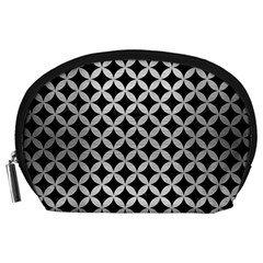 Circles3 Black Marble & Silver Brushed Metal Accessory Pouch (large)