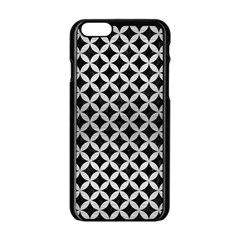 Circles3 Black Marble & Silver Brushed Metal Apple Iphone 6/6s Black Enamel Case