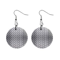 Brick2 Black Marble & Silver Brushed Metal (r) 1  Button Earrings