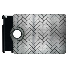 Brick2 Black Marble & Silver Brushed Metal (r) Apple Ipad 2 Flip 360 Case