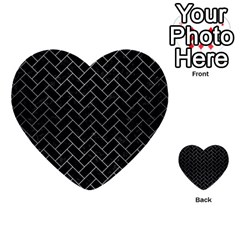 Brick2 Black Marble & Silver Brushed Metal Multi Purpose Cards (heart)