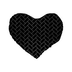 Brick2 Black Marble & Silver Brushed Metal Standard 16  Premium Heart Shape Cushion