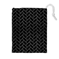 Brick2 Black Marble & Silver Brushed Metal Drawstring Pouch (xl)