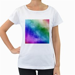 Rainbow Watercolor Women s Loose Fit T Shirt (white)