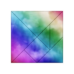 Rainbow Watercolor Acrylic Tangram Puzzle (4  X 4 )