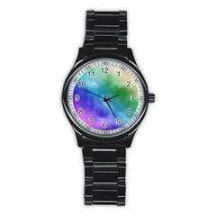 Rainbow Watercolor Stainless Steel Round Watch