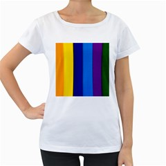 Rainbow Painting On Wood Women s Loose Fit T Shirt (white)