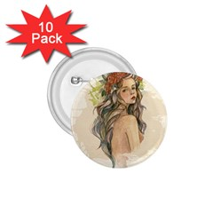 Beauty Of A Woman In Watercolor Style 1 75  Buttons (10 Pack)