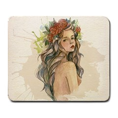 Beauty Of A woman In Watercolor Style Large Mousepads