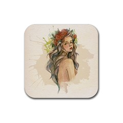 Beauty Of A woman In Watercolor Style Rubber Square Coaster (4 pack)
