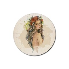 Beauty Of A woman In Watercolor Style Rubber Coaster (Round)