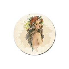 Beauty Of A woman In Watercolor Style Magnet 3  (Round)