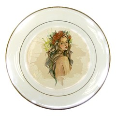 Beauty Of A woman In Watercolor Style Porcelain Plates