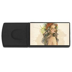 Beauty Of A woman In Watercolor Style USB Flash Drive Rectangular (4 GB)