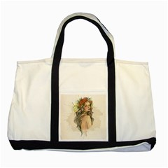 Beauty Of A woman In Watercolor Style Two Tone Tote Bag