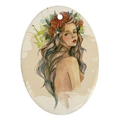 Beauty Of A Woman In Watercolor Style Oval Ornament (two Sides)